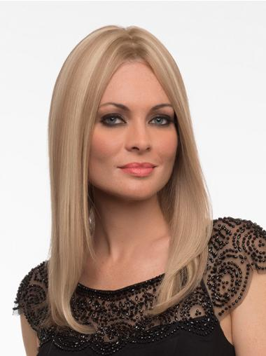 Human Hair Monofilament Wig Monofilament Straight Style Blonde Color