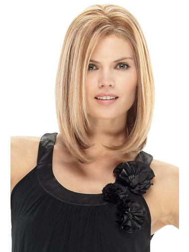 Human Straight Wigs For Cheap With Lace Front Blonde Color Shoulder Length