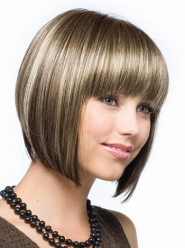 Cheap Synthetic Hair Bobs Cut Straight Style Brown Color Chin Length