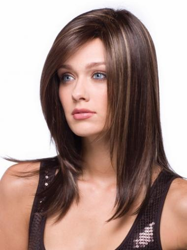 Synthetic Wigs Women With Capless Straight Style Long Length Auburn Color