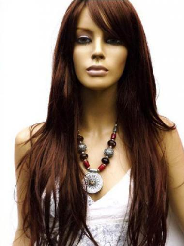 Human Hair Wig Long Length Auburn Color Lace Front With Bangs