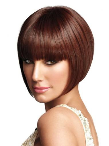Graduated Bob Wigs With Capless Synthetic Bobs Cut Chin Length