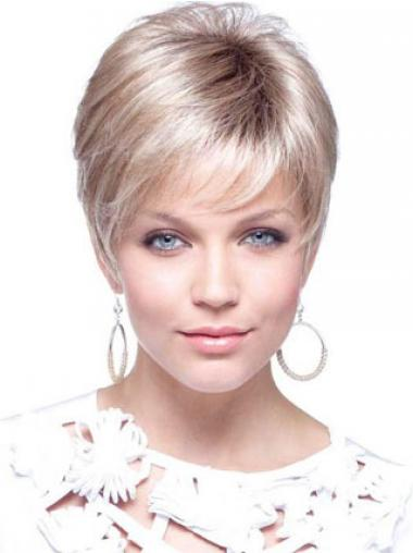 Womens Wigs UK With Capless Cropped Length Blonde Color