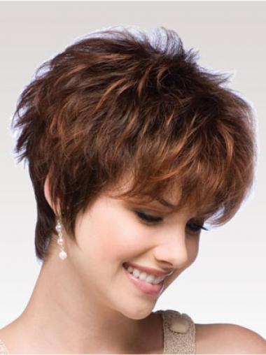 Auburn Wig Boycuts Auburn Color Short Length Wavy Style