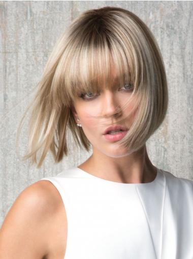 "With Bangs Blonde Straight 8"" Chin Length Synthetic Wigs"