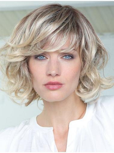 Human Hair Curly Wigs With Bangs Monofilament Shoulder Length Blonde Color