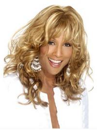 "Blonde Long Curly With Bangs Lace Front 18"" Beverly Johnson Wigs"