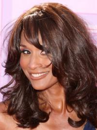 """Black Long Wavy With Bangs Lace Front 16"""" Beverly Johnson Wigs"""