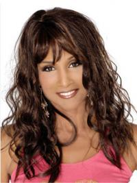 "Black Long Curly With Bangs Full Lace 18"" Beverly Johnson Wigs"