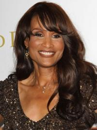 "Brown Long Wavy With Bangs Lace Front 18"" Beverly Johnson Wigs"