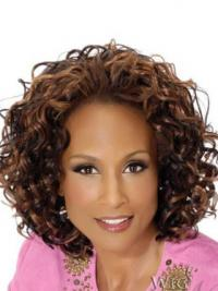 "Brown Chin Length Curly Without Bangs Full Lace 12"" Beverly Johnson Wigs"