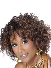 """Brown Chin Length Curly With Bangs Lace Front 10"""" Beverly Johnson Wigs"""