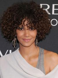 Halle Berry Wigs With Bangs Kinky Style Chin Length