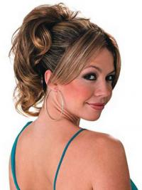 Ponytail Hair Extensions With Synthetic Wavy Style Brown Color