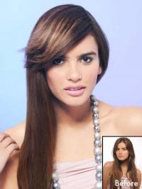 Synthetic Brown Clip On Fringe