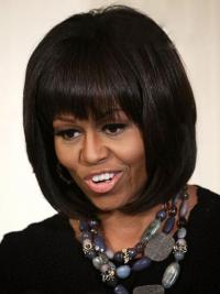 "Lace Front Bobs Chin Length Straight 10"" Brown Designed First Lady Wigs"