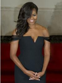 """100% Hand-tied Without Bangs Long Wavy 16"""" Black Fabulous First Lady Wigs"""