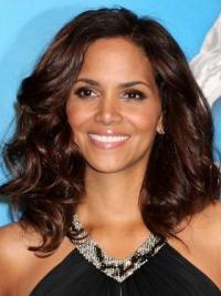 """Lace Front Wavy Layered Shoulder Length Best 14"""" Halle Berry Wigs"""