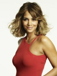 """Lace Front Wavy Layered Chin Length Comfortable 12"""" Halle Berry Wigs"""