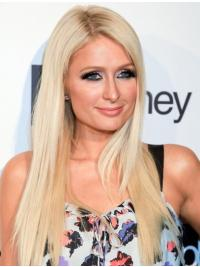 100% Hand-tied Long Straight Without Bangs Blonde Fashion Paris Hilton Wigs