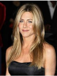 "Long Straight Without Bangs Monofilament Blonde Style 18"" Jennifer Aniston Wigs"
