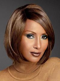 "Chin Length Straight Lace Front Auburn 10"" Convenient Iman Wigs"