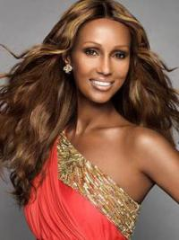 "Long Wavy Lace Front Brown 22"" Fashion Iman Wigs"