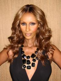 "Long Wavy Lace Front Brown 18"" Affordable Iman Wigs"