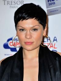 Jessie J Wig Remy Human Capless Boycuts Cropped Length Black Color