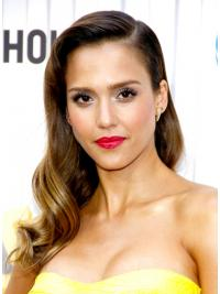 Wavy Capless Without Bangs Long Brown Hairstyles Jessica Alba Wigs