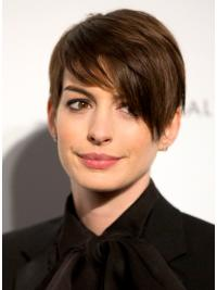 """Brown Cropped Straight Boycuts Lace Front 6"""" Anne Hathaway Wigs"""