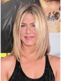 Jennifer Aniston Wigs Lace Front Layered Cut Shoulder Length Blonde Color