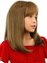 Straight Shoulder Length Blonde Remy Human Hair Lace Front Kids Wigs