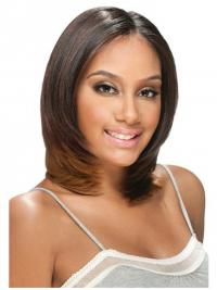 U Part Wig UK With Lace Front Shoulder Length Straight Style