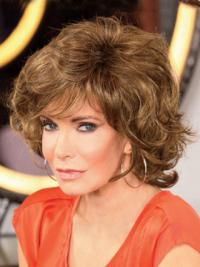 "Chin Length Curly With Bangs Lace Front Brown Modern 12"" Jaclyn Smith Wigs"