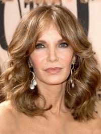 """Shoulder Length Wavy Layered Lace Front Brown No-Fuss 14"""" Jaclyn Smith Wigs"""