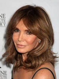 "Shoulder Length Wavy Layered Lace Front Brown Ideal 14"" Jaclyn Smith Wigs"