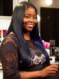"Black Long Straight Lace Front Designed 22"" Kim Kimble Wigs"