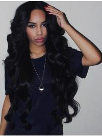 "Remy Human Hair 26"" Without Bangs Black Wavy 360 Lace Wigs"
