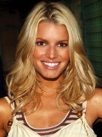 "16"" Good Blonde Long Wavy Layered Jessica Simpson Wigs"
