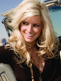 Wavy Lace Front Layered Long Blonde Discount Jessica Simpson Wigs