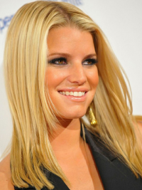 Straight 100% Hand-tied Layered Shoulder Length Blonde Fashion Jessica Simpson Wigs