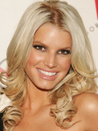 Wavy Lace Front Layered Long Blonde Natural Jessica Simpson Wigs