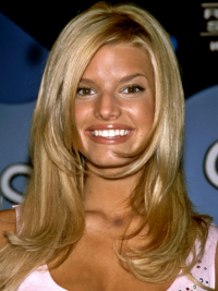 Wavy 100% Hand-tied Layered Long Blonde Cheap Jessica Simpson Wigs