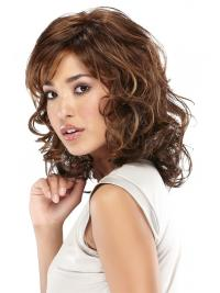 100% Hand Tied Brown Shoulder Wavy Layered Mono Wig UK