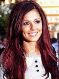 Cheryl Cole Style Wigs With Capless Red Color Straight Style
