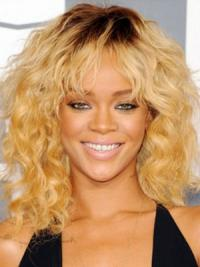 Rihanna Wigs With Capless Synthetic Blonde Color Shoulder Length