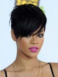 Short Rihanna Wigs Boycuts Cropped Length Black Color
