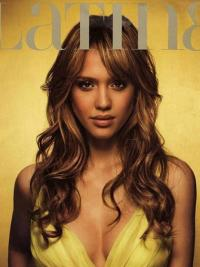 Wavy Lace Front Layered Long Brown Modern Jessica Alba Wigs