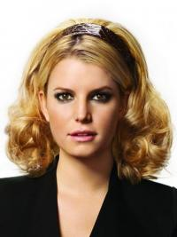 Shoulder Length Curly Blonde Popular Synthetic Half Wigs